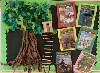 Tactile Tree with Magic Treehouse Books surrounding bulletin board