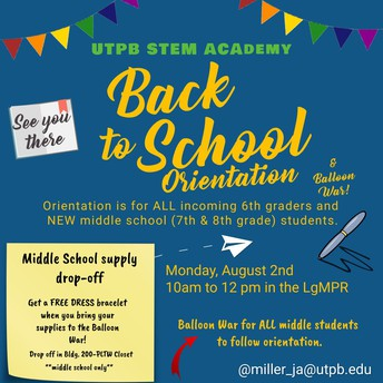 6th grade and New Middle School student Orientation