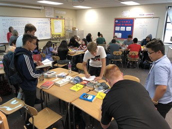 Speed book dating in Mrs. Smith's class.