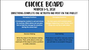 Choice Board - Social Emotional Learning