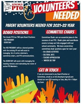 PTO Volunteers needed