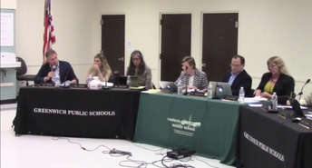 Board of Education members sitting at the table for their Oct. 17 2019 Business Meeting
