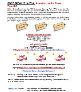 Post Prom Newsletter
