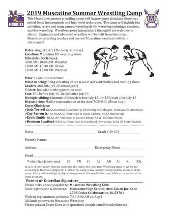 2019 Muscatine Summer Wrestling Camp
