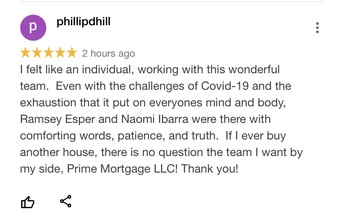 Prime Mortgage & Escrow Google Reviews