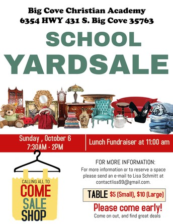 YARD SALE (SUNDAY, OCT 6), 7:30AM - 2PM