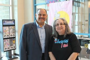 PSJA School Board Member, Mr. Jorge Palacios & Mrs. Hinojosa, Librarian