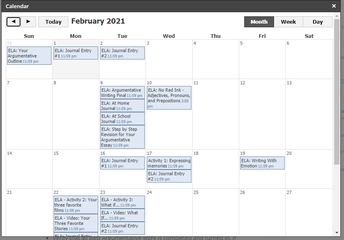 Single Class Calendar