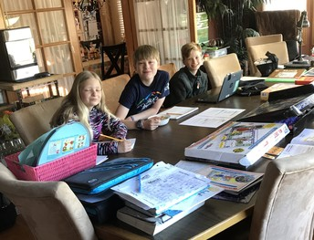Stewart and his cousins do schoolwork together!