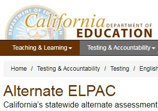 New CDE Alternate ELPAC Web Page