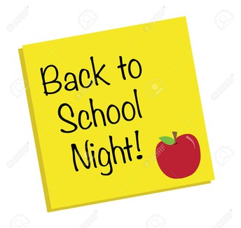 Back To School Night, Thursday, August 29