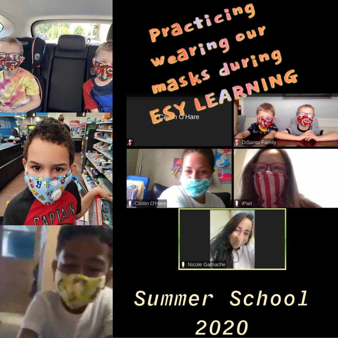 ESY students practicing wearing their masks.