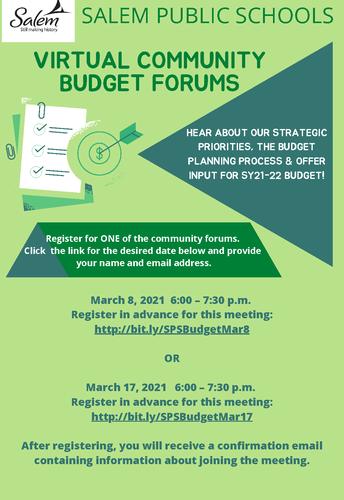 Community Budget Forum - March 17 - 6:00PM