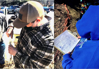 FHU Annex students take data and measure maple sap