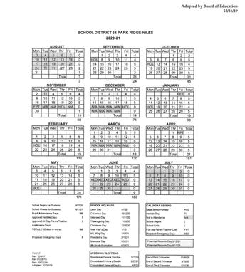 2020-2021 School Calendar adopted