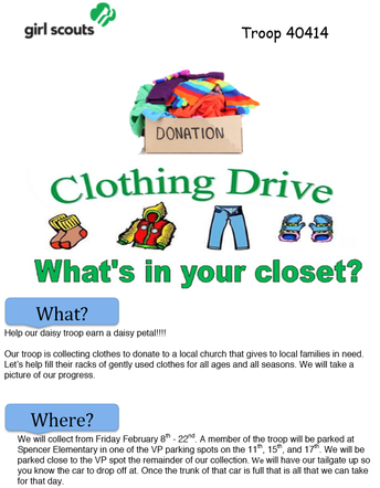 Spencer Girl Scout Troop Clothing Drive