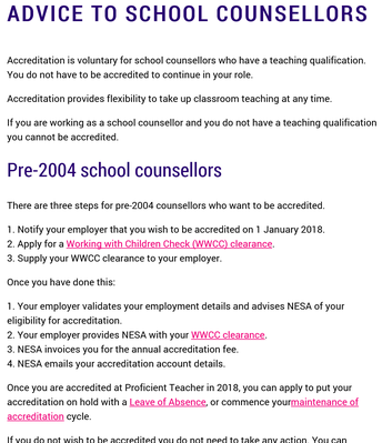 NESA: Advice to School Counsellors