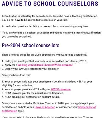 NESA: Advice to School Counsellors