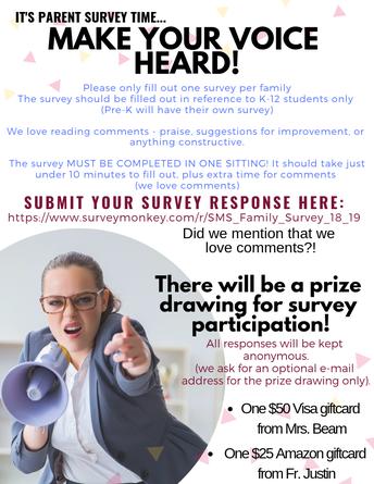 It's Parent Survey Time!