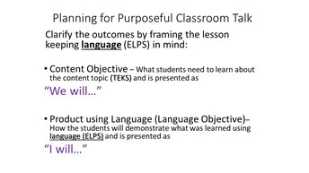 Framing the Lesson with Language in Mind