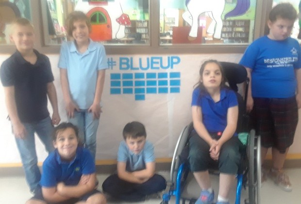 Patterson students taking a stand against bullying wearing blue