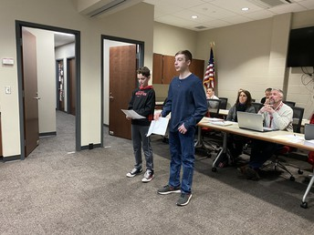 6th-Grade Student Council Members present at the Feb. Board Meeting.