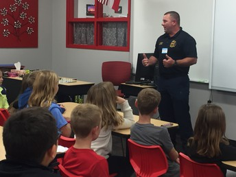 3rd Grade visits with Sherman firefighter, Jamie Baggs.