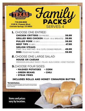 Texas Roadhouse Family Food Packs