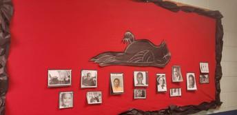 "ELA Department Bulletin Board honoring ""Mockingbirds"" of modern day"