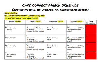 March After School Programming in Cafe Connect
