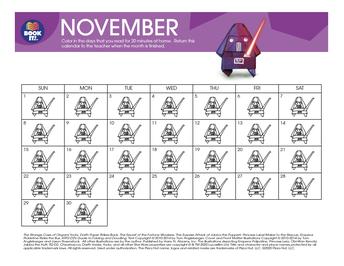PTO Book It November Calendar