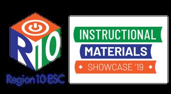 Region 10 square logo beside text: Instructional Materials Showcase '19