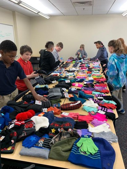 Students collecting items