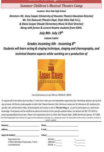 See the attached flyer to sign up for the Summer Children's Musical Theatre Camp!!