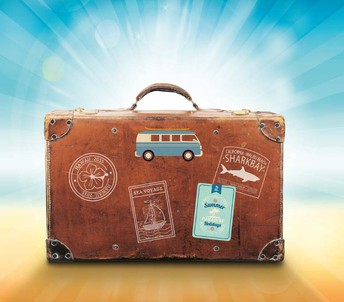 Luggage with stamps of destinations and travel