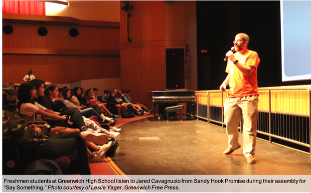 Say Something assembly speaker Jared Cavagnuolo from Sandy Hook Promise, photo courtesy of Greenwich Free Press