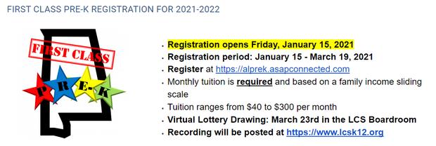 Registration for Pre-K 2021-2022