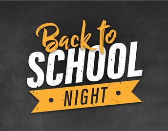 Back to School Night - Thursday, September 5th