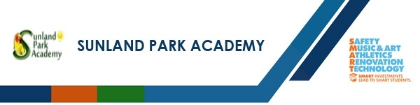 A graphic banner that shows Sunland Park Academy name and logo with the SMART logo