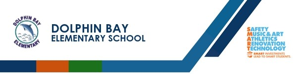 A graphic banner that shows Dolphin Bay Elementary  School's name and SMART logo