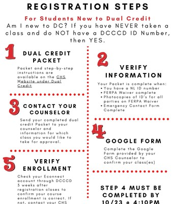 Steps for students new to Dual Credit