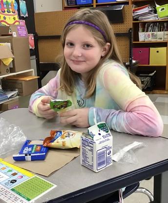 Student eating breakfast