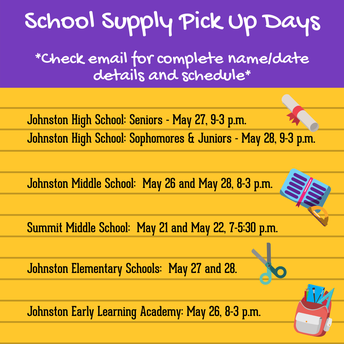 School Supply Pick Up/Drop Off Information