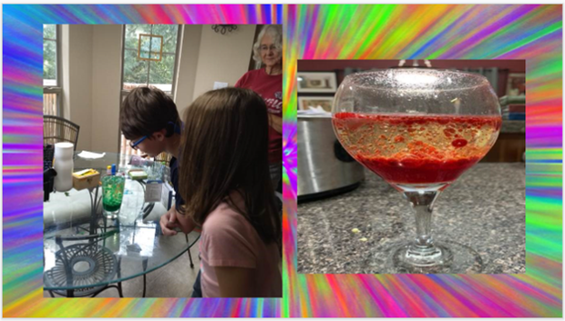 students experimenting making lava lamps