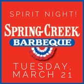 Spring Creek Spirit Night Tuesday