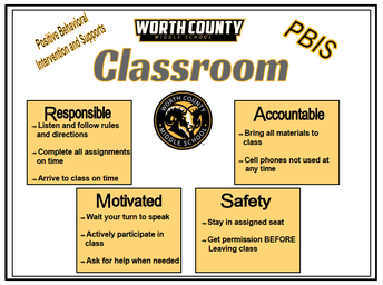 PBIS Classroom Posters around school help remind students of the behaviors in the classroom.