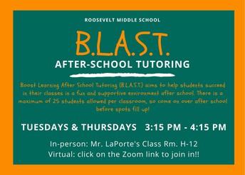 BLAST After School Tutoring! In-person!