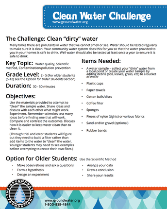 Earth Day: Clean Water Challenge & No New Water- Grades K-5