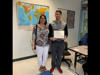 12th Grade student of the month Gerardo Alfonso