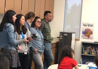 Maestros observando el trabajo de estudiantes